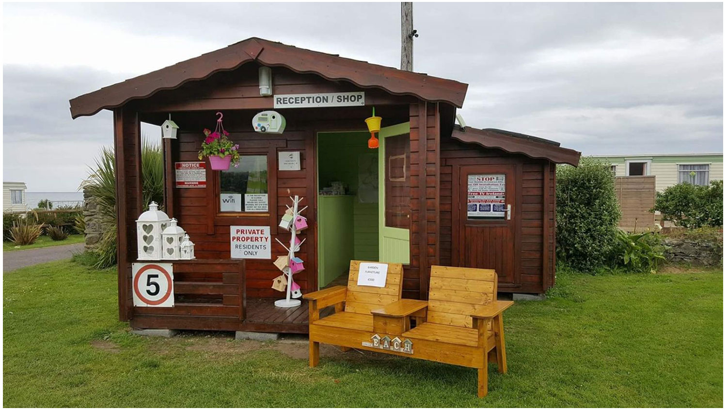 Shop-Front-Camping, Campervans, Motorhomes - Lynders Mobile Home Park, Portrane:Donabate, North County Dublin, Fingal